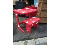 Childs seat bench and desk red
