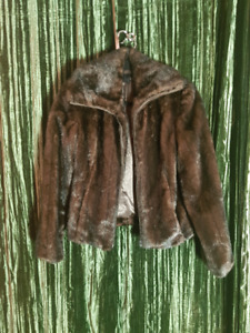 Brown Faux Fur Hip Length Coat, Never Worn, size Small.