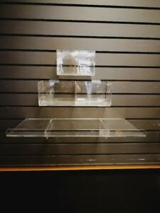 acrylic bins & shelves for slat wall, storage shelves