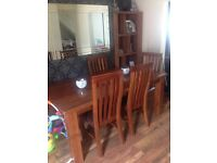 Solid wood acacia table/chairs