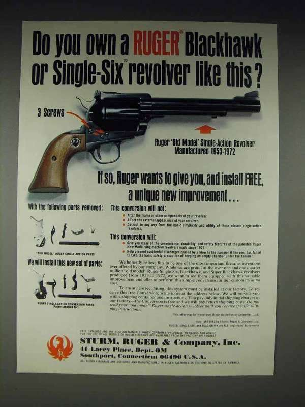 1982 Ruger Single-Six Revolver Conversion Kit Ad
