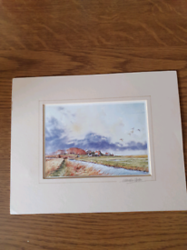 Martin sexton watercolour print in mount