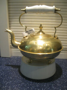 "OLD ANTIQUE BRASS ""TODDY"" KETTLE with WHITE CERAMIC HANDLE"