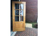 Internal wooden oak door with 6 x glass windows