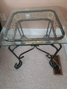 Glass coffee table with 2 glass end tables $70 each. Quality!