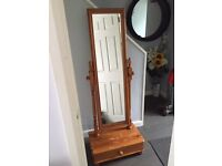 Solid Pine Wood Free Standing Mirror