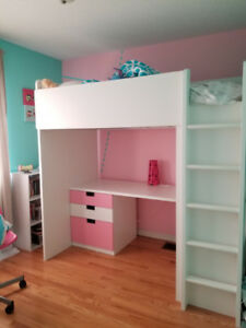 STUVA/FRITIDS_IKEA bunk bed_pk&white_3drawers /2 doors_$500