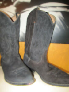 Tom Houston Cowboy Boots Black Suede Leather And Lanning Hat