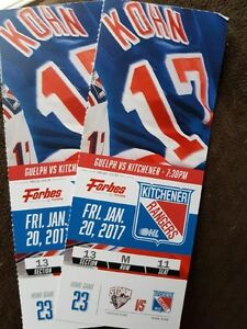 2 KITCHENER RANGERS TICKETS VS GUELPH FRIDAY JAN 20TH