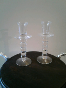 Set of glass candle holders
