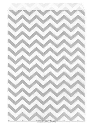100 Flat Merchandise Paper Bags 6 X 9 Silver Gray Chevron Stripes On White