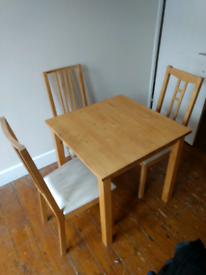 Ikea Norden dining table 74 cm x 74 cm + 3 matching Ikea chairs