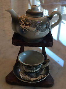 Vintage Dragonware Miniature Teapot and Cup