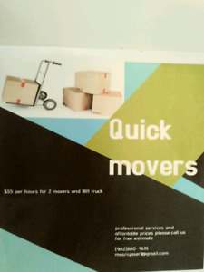 Quick good boys movers last min call$55 hr 2 movers  20 ft truck