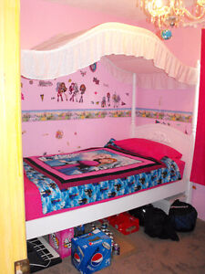 Diamond Dreams Twin Canopy Bed with mattress -Price reduced