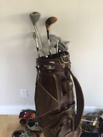 Reduced price- right handed golf set- leather PGA bag