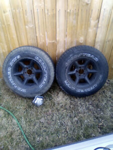 "15"" ranger goodeyear tires on aluminum rims (4)"