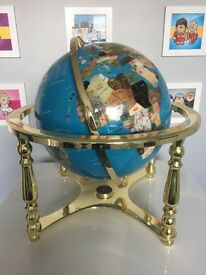 Large semi precious gemstone globe with brass stand