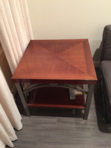 Luxury Italian End Table w/ Stainless Steel Base- Like Brand New