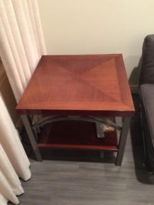 Luxury Italian End Table w/ Stainless Steel Base- Like Brand New