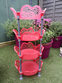 Tall Red Plastic Round Shelves