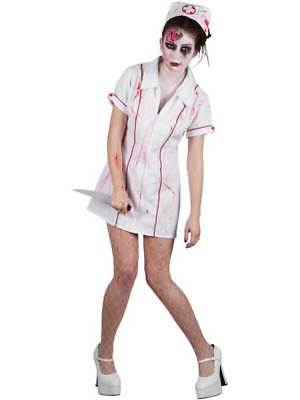 Halloween Zombie Nurse Costume Ladies Womens Scrubs Fancy Dress Adult Size 6-20