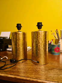 Hammered brass lamp bases x2