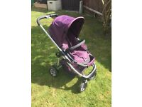 Icandy cherry pushchair / stroller in mulberry complete with icandy carrycot and icandy footmuff