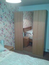 Ikea bespoke oak effect triple mirror wardrobe