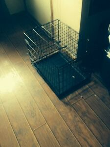 Med dog kennel with bottom tray
