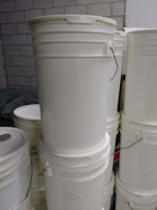 5 Gallon Sturdy Plastic Pails with Snap On Lid.  $3/pail