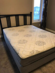 REDUCED!Queen Mattress, Spring Box, Metal Headboard, Metal Frame