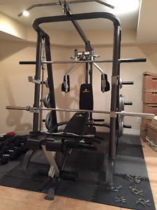 Apex Home Gym/Smith Machine WITH 300lb Olympic Weight Set