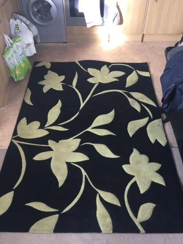 Large Black Lime Green Soft Carved Thick Rug 220 X 160