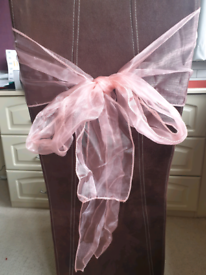 60 x Coral organza sashes for chair bows
