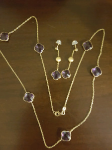 Beautiful 14k gold with amethist set