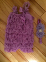 Baby lace romper and headband