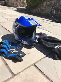 Motocross Helmet, Helmet Bag, Goggles and Gloves