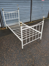 Single metal cream coloured bed frame delivery available