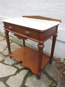 Marvelous Marble Top Antique (c1870) Table- Refinished