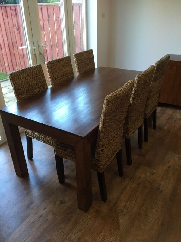Dining Table 6 Ft Dark Solid Mango Wood And Chairs