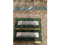 2 x 1GB DDR2 ram for laptop available