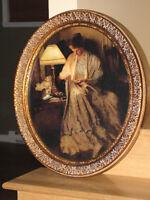 Cadre ovale antique Femme d'époque