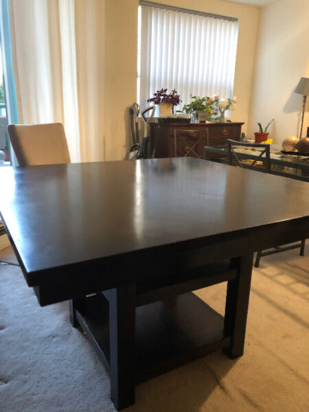 Wood dining/living room table set with 4 suede chair ...