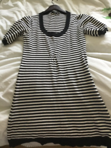 Mexx Black and White Striped Knit Dress. Size M
