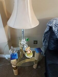 coffee table and 2 end tables glass