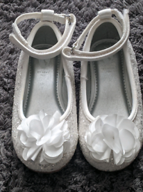 Little girls white sparkly shoes from Very size 7