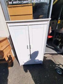 White wood tallboy wardrobe £75