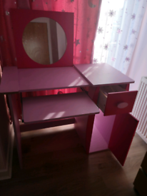 Girls pink desk with mirror, for home learning, crafts