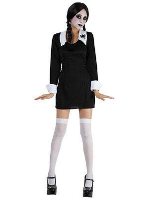 Kids Creepy School Girl Wednesday Addams Fancy Dress Halloween Costume 3-13 - Creepy Girl Halloween